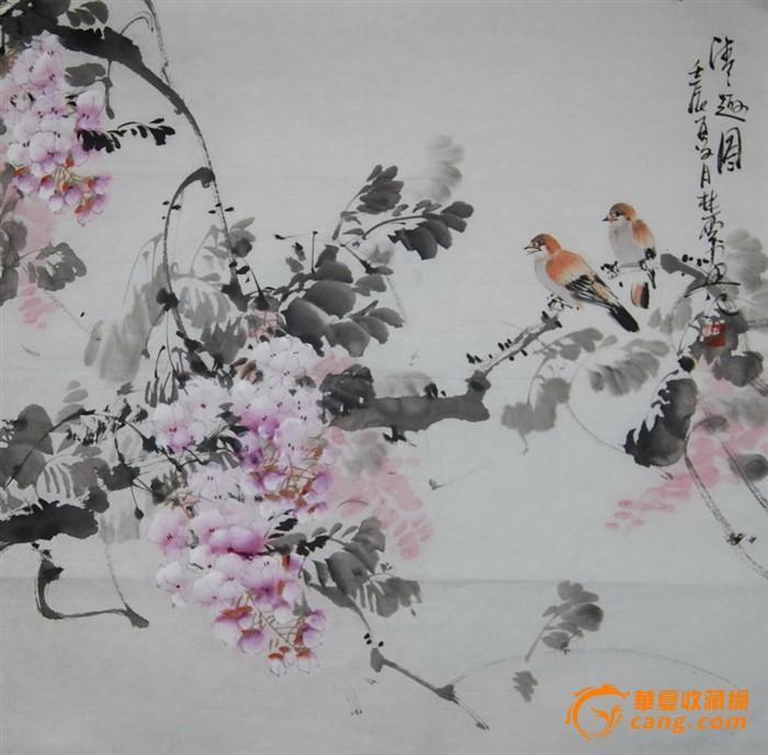 68x68cm写意国画花鸟作品