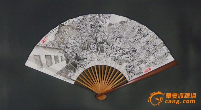 勾奇志美术作品专拍——九寸红木成扇钢笔画《桃花谷系列—太行农家》