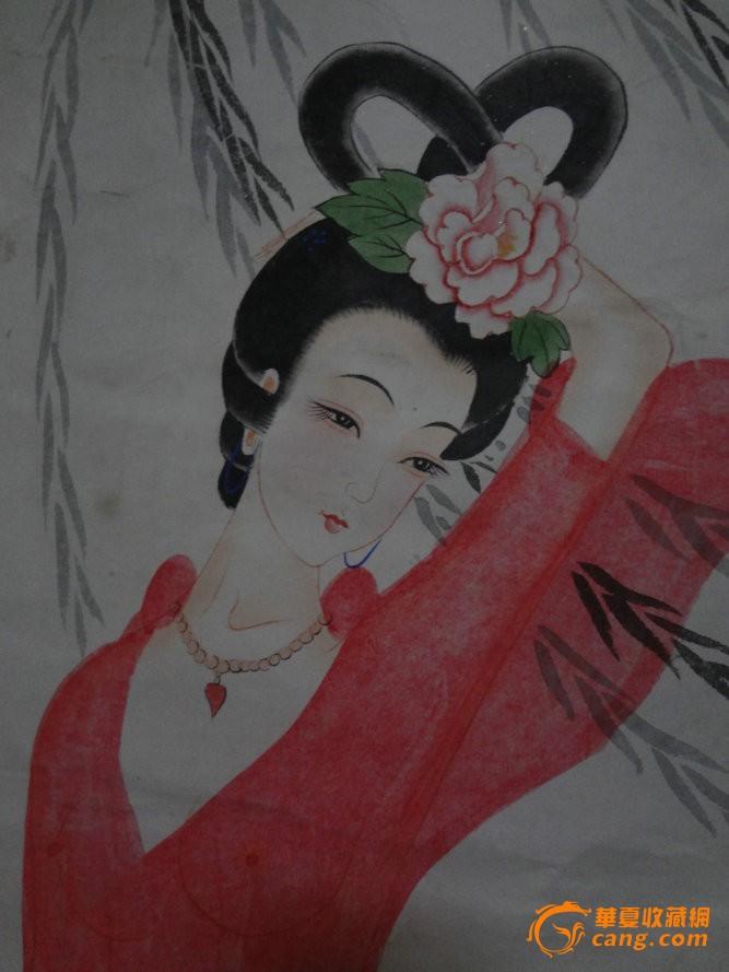 "wp3j-名家工笔淡彩原作国画人物画-仕女图""龙女出宫"""
