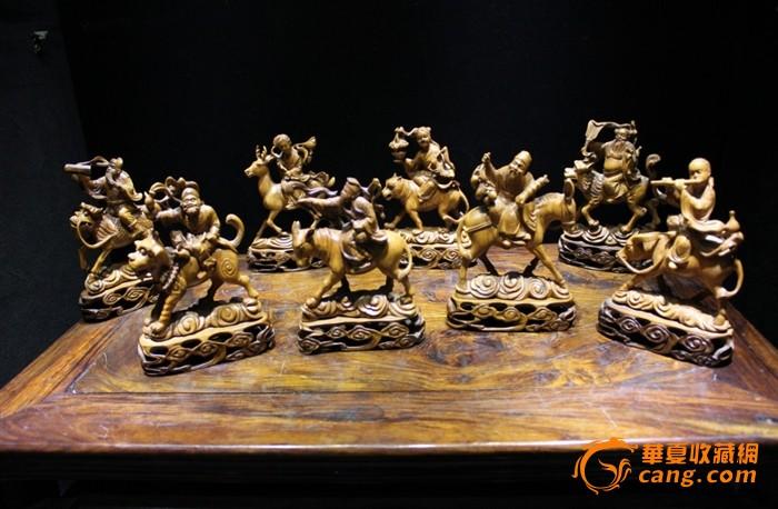 清晚期 黄杨木雕八仙人物一套 带原装底座图1-在线竞价-图片|图库|价格