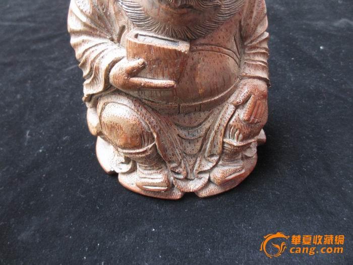 清代竹根雕财神