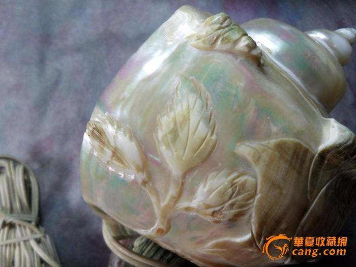 民国大贝壳雕花台灯摆件