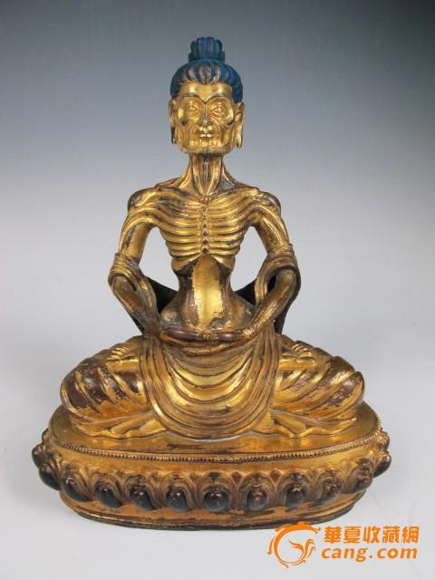 【传世】清代藏传铜鎏金瘦骨罗汉佛造像(雪山大士)图1-在线竞价-图片|图库|价格