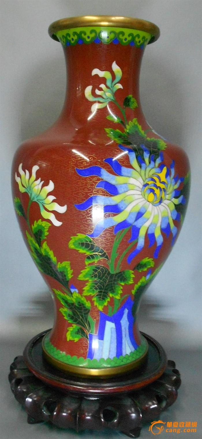 A1553--民国超大铜胎珐琅花蝶瓶一只图1-在线竞价-图片|图库|价格