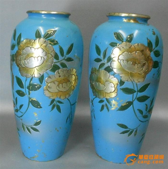A1583--二十世纪老铜胎雕花卉瓶一对图1-在线竞价-图片|图库|价格