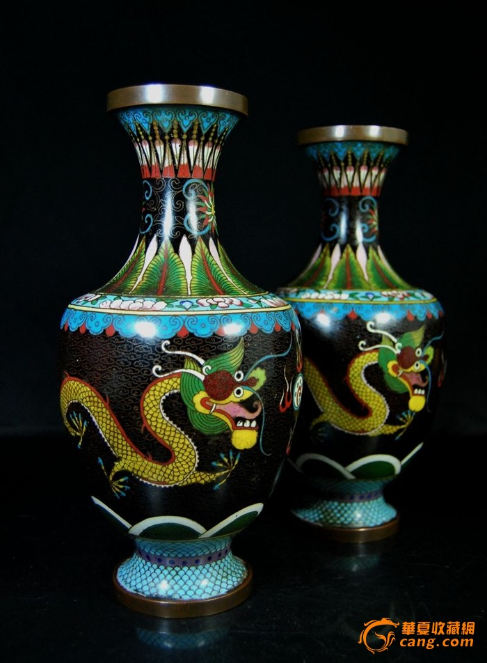 晚清民国景泰蓝双龙抢珠纹花瓶一对图1-在线竞价-图片|图库|价格