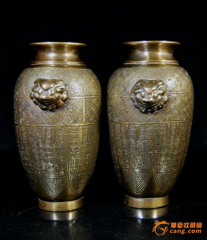 晚清[玉堂珍藏]款铜铺首瓶一对图1-在线竞价-图片|图库|价格