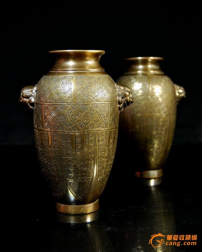 晚清[玉堂珍藏]款铜铺首瓶一对图2-在线竞价-图片|图库|价格