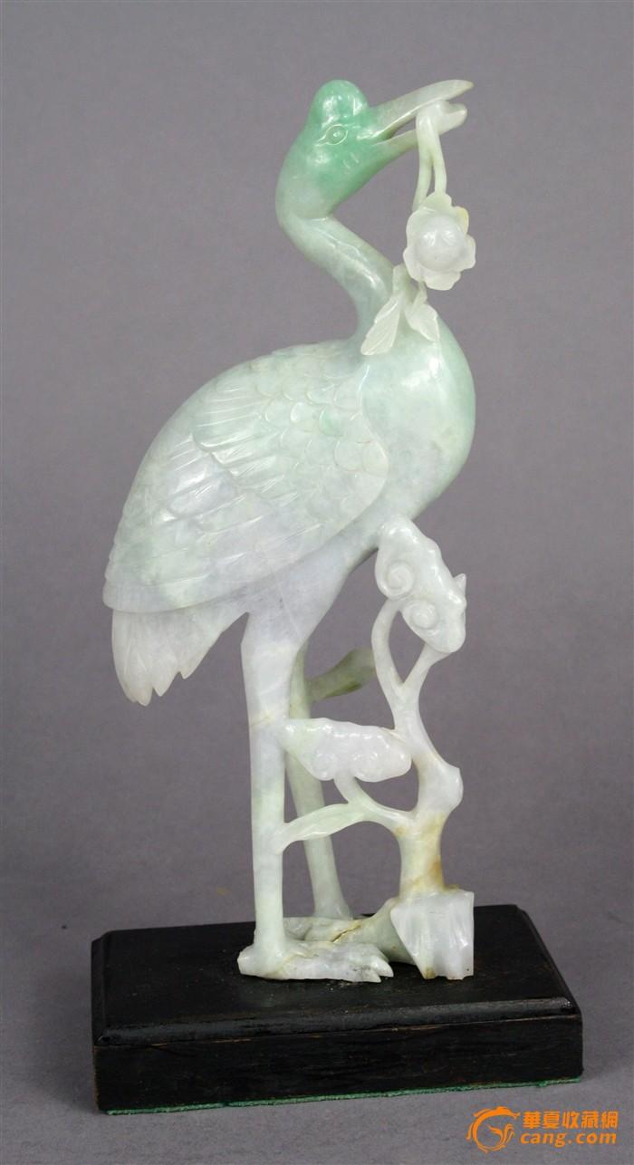 晚清民国超大号精美罕见翡翠雕仙鹤摆件图1-在线竞价-图片|图库|价格