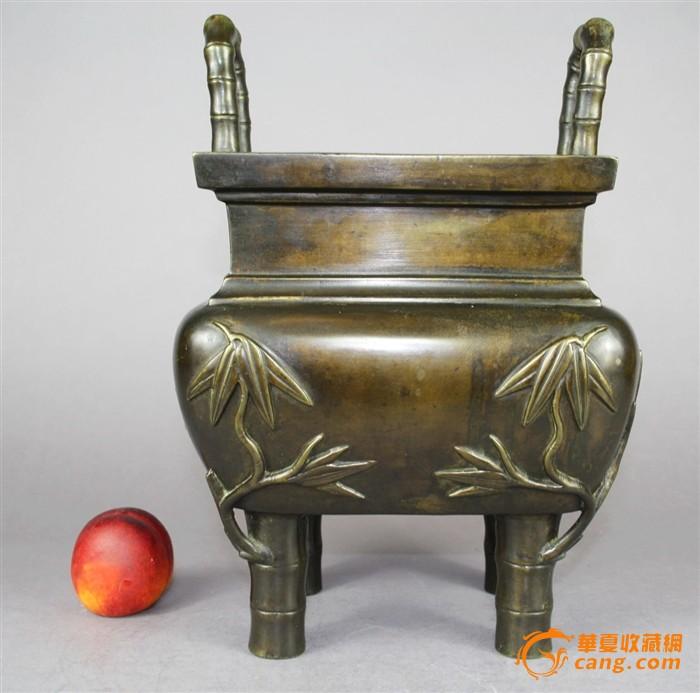 清代 超大号精品重器 竹节形铜方鼎图1-在线竞价-图片|图库|价格