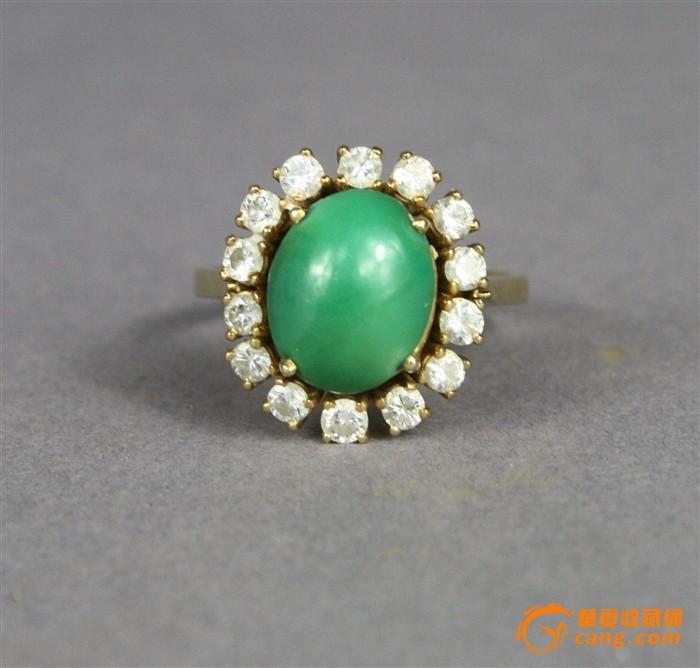 20世纪罕见极品绿松石周圈镶嵌14颗2毫米多直径的大钻石戒指图1-在线竞价-图片|图库|价格