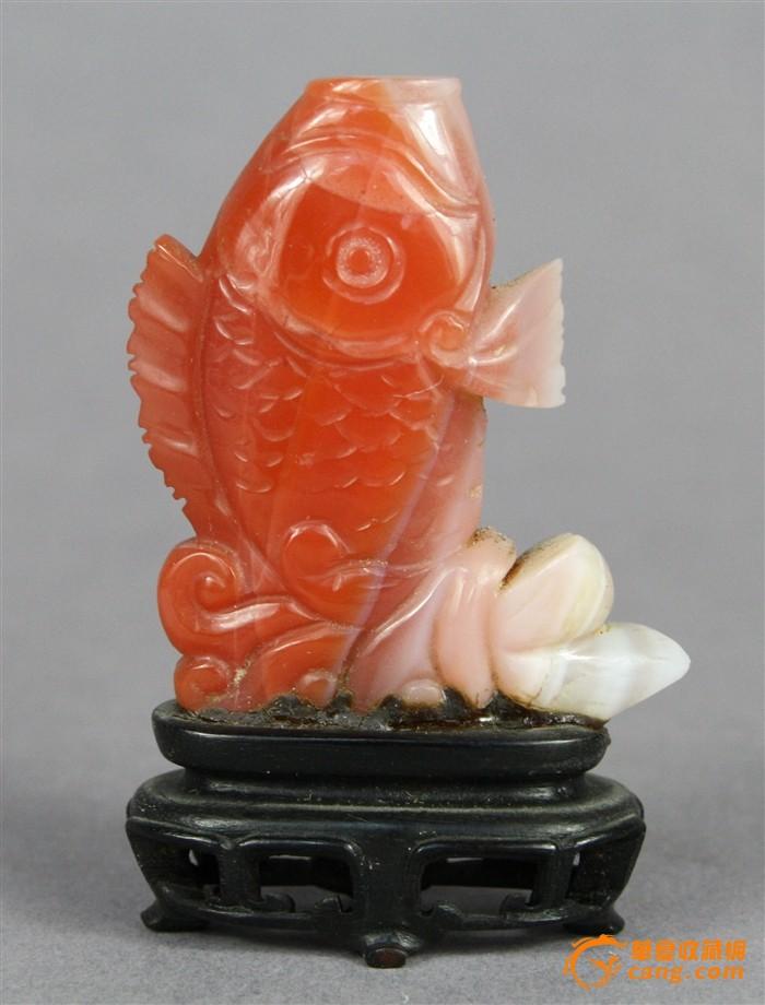 晚清精美罕见红白南红玛瑙雕鲤鱼鼻烟壶连座图1-在线竞价-图片|图库|价格