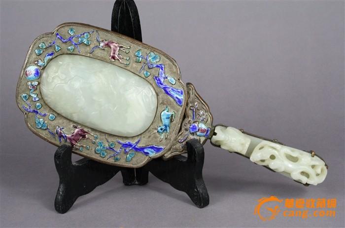 晚清罕见精品重器鎏金铜烧珐琅嵌白玉瓦子及玉龙钩把手镜子图1-在线竞价-图片|图库|价格