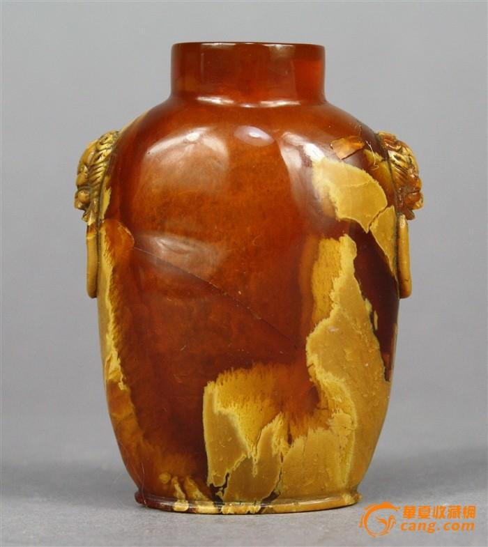 清中期罕见精品蜜蜡双狮耳鼻烟壶图1-在线竞价-图片|图库|价格