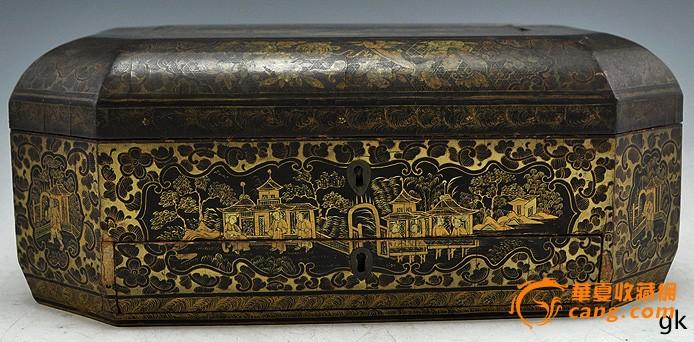 清代黑漆描金缝纫盒图1-在线竞价-图片|图库|价格