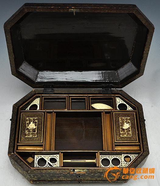 清代黑漆描金缝纫盒图2-在线竞价-图片|图库|价格