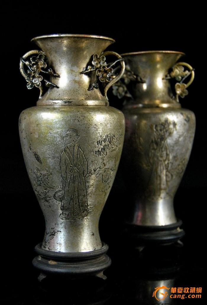 民国白铜镀银暗刻仕女人物观音瓶一对图1-在线竞价-图片|图库|价格