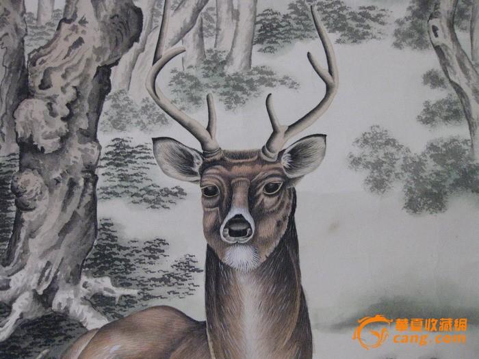 工笔画家赵宝华作品:林深鹿鸣图