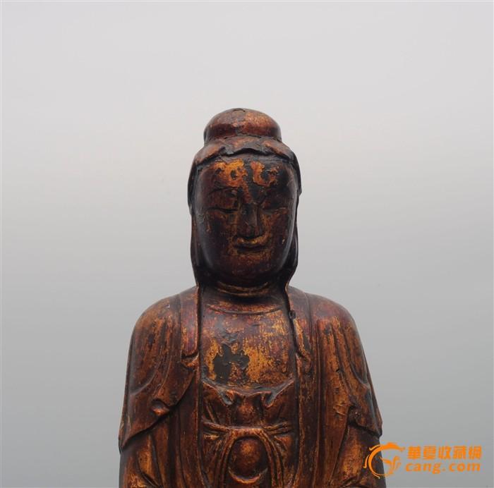 清木雕漆金观音像_在线拍卖
