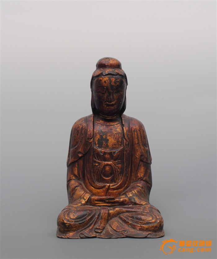 清木雕漆金观音像