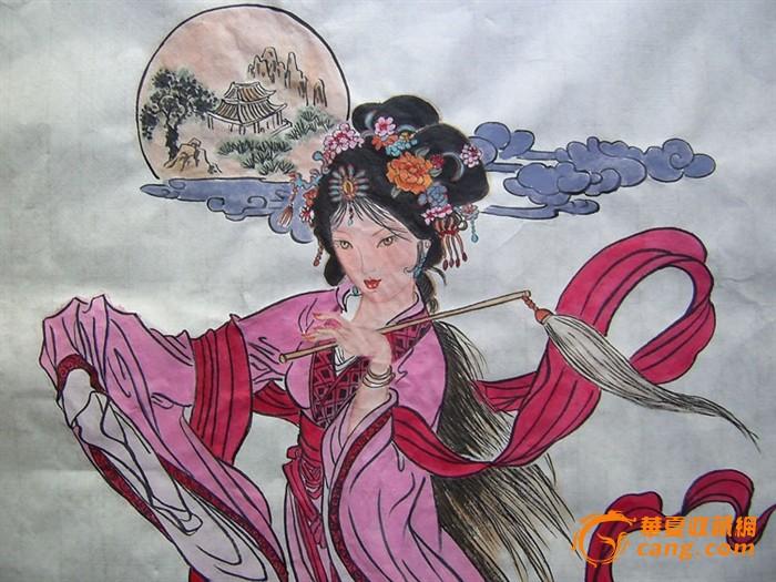名家 水墨 人物画 广寒宫主 嫦娥奔月 图 在线拍
