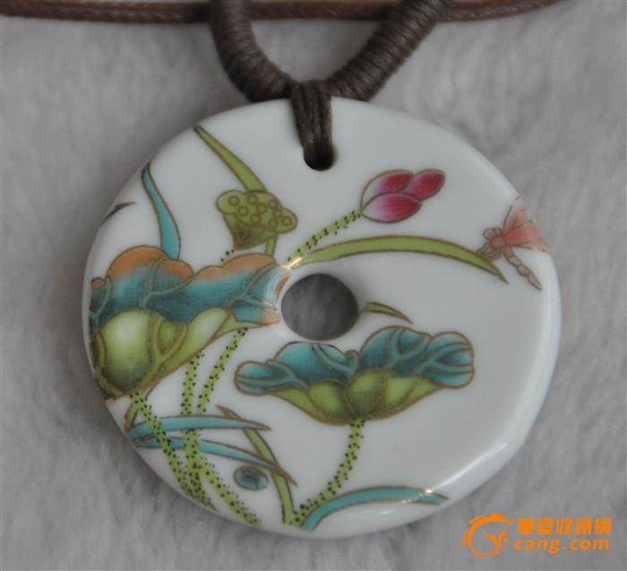 现代陶瓷手绘粉彩花卉园壁大挂件