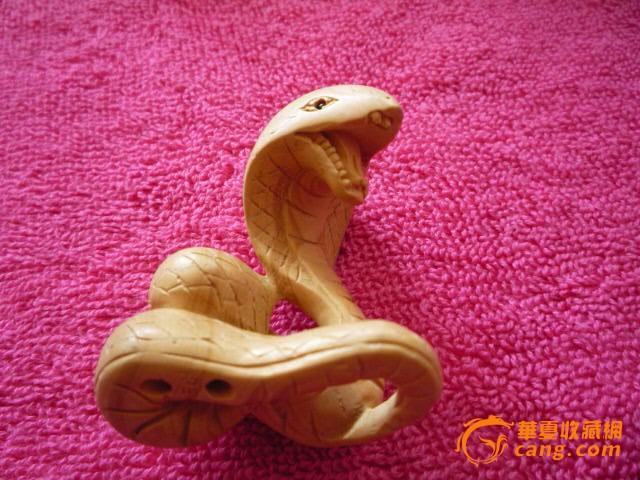 原色黄杨木雕手把件生肖蛇工艺品摆件木料古玩仿古