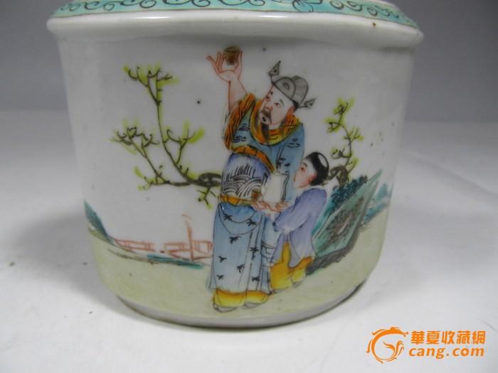 民国粉彩人物异形茶叶罐