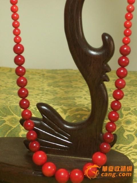 海竹红珊瑚圆珠锁扣项链