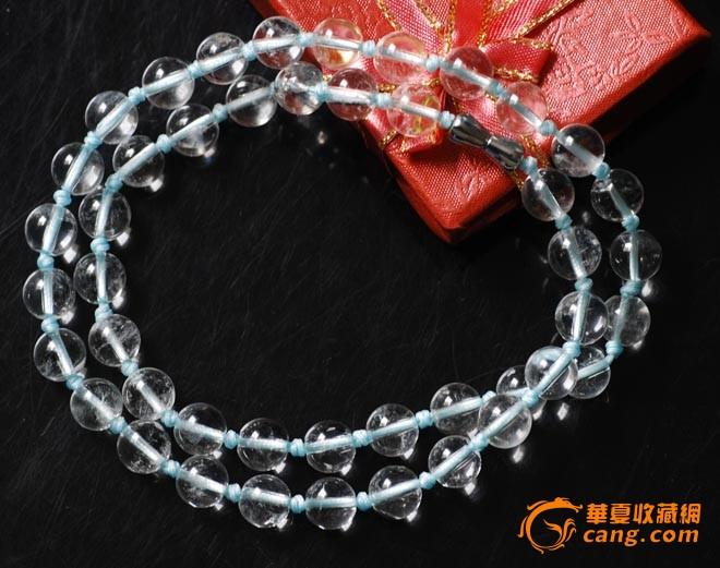 雍容华贵优质天然白水晶8mm圆珠项链