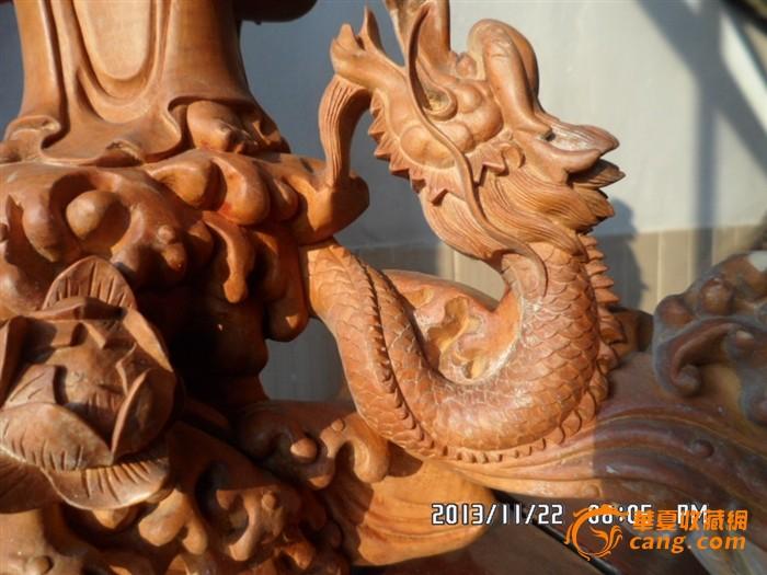 黄杨木渡海降龙观音 80年代仙游木雕工艺大师精工雕