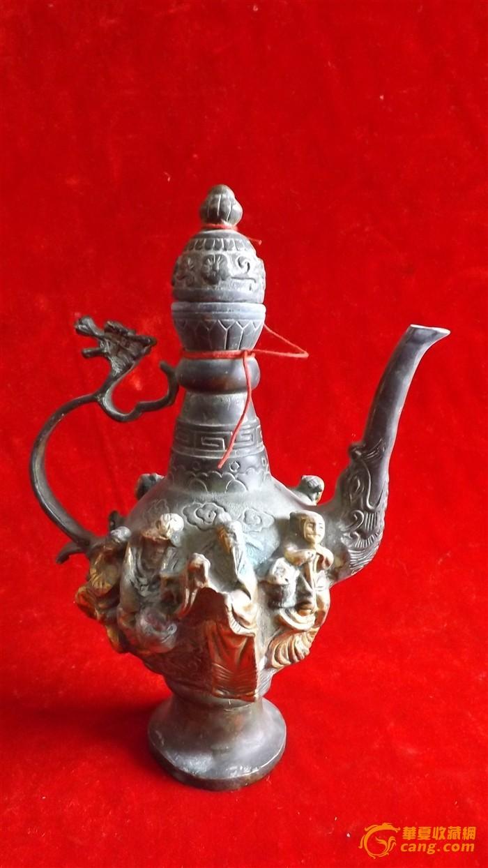 明鎏金铜-八仙过海--龙象首执壶摆件