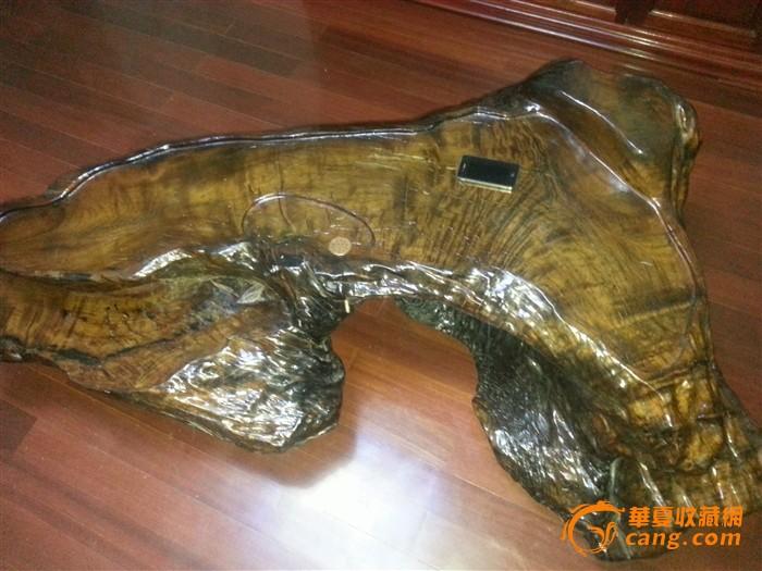 金丝楠木阴沉木茶桌,重达100公斤