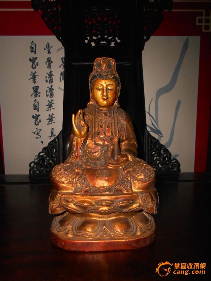 """福建传统工艺漆线木雕""""观音菩萨""""造像"""