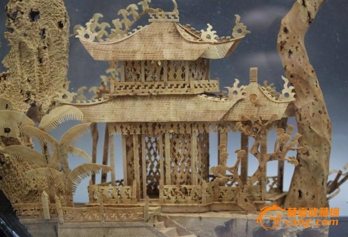 建国初期微雕精品木雕景观山水楼台圆屏