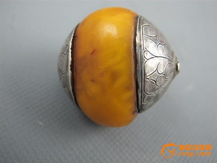 大颗西藏老蜜蜡包银珠子