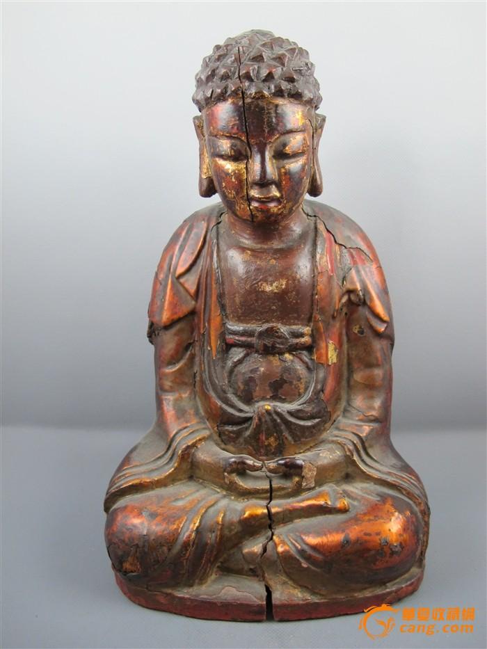明代木雕漆金佛像
