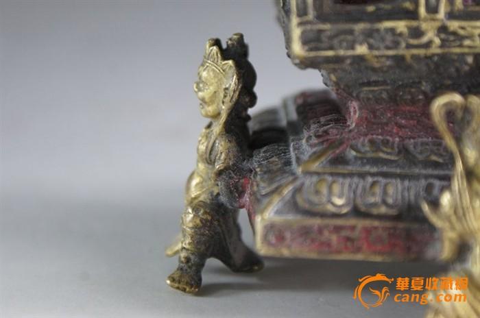 清代藏传佛教铜鎏金四金刚托佛塔