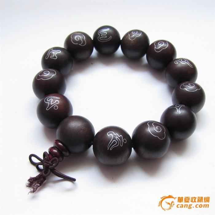 天然黑檀木镶银丝六字箴言佛珠手链手串图1-在线竞价-图片|图库|价格