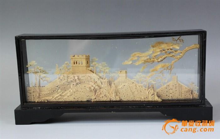 建国初期微雕精品木雕景观万里长城屏