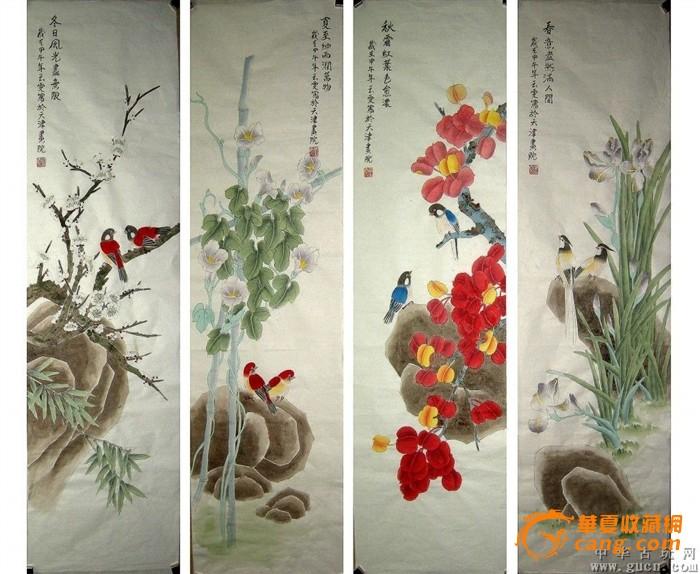 当代实力派画家单玉雯纯手绘工笔四条屏春夏秋冬