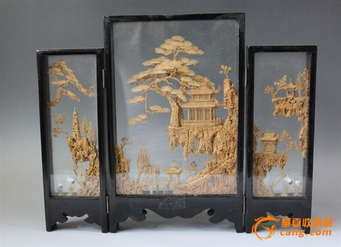 创汇期微雕精品木雕亭台楼阁屏