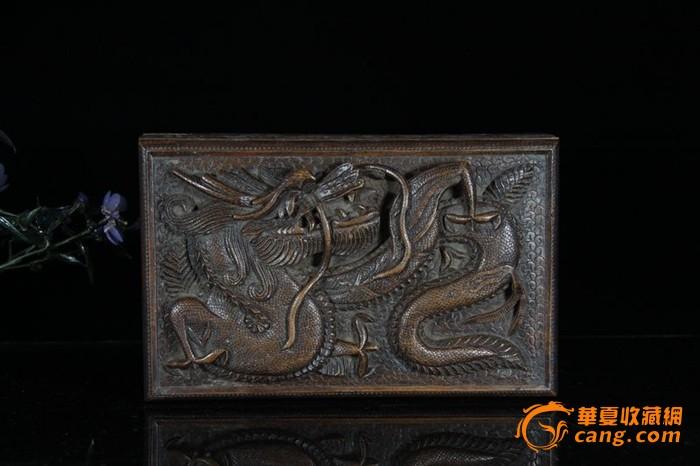 民国浮雕龙纹木首饰盒