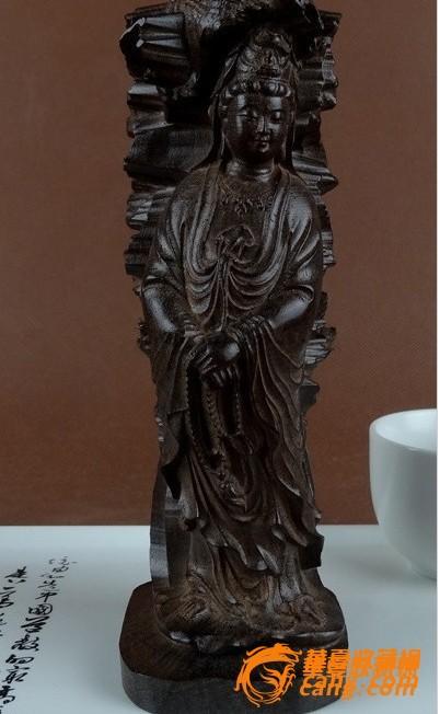 越南天然沉香木雕白菜(百财)观音菩萨佛像摆件
