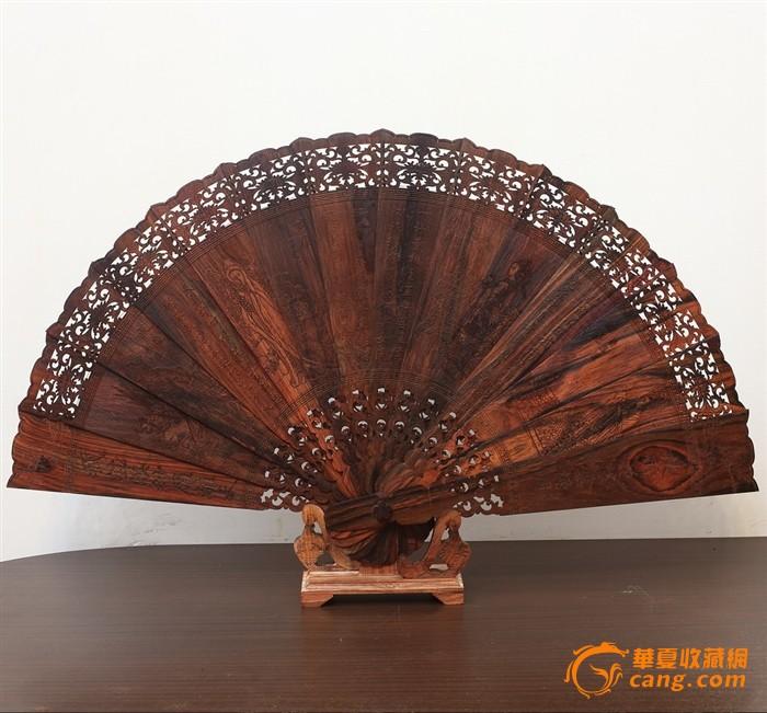 老挝大红酸枝古代四大美人摆扇