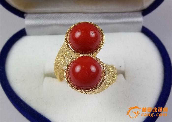 18k金顶级辣椒红珊瑚10mm圆珠戒指