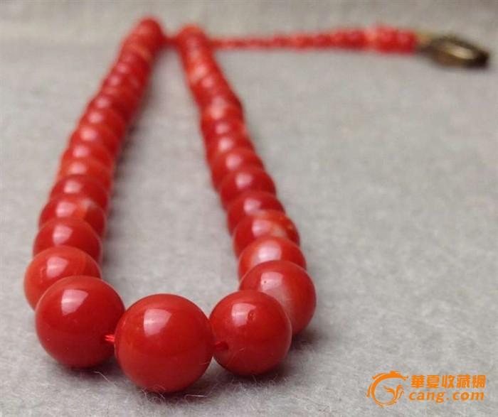8克重天然阿卡aka红珊瑚圆珠项链
