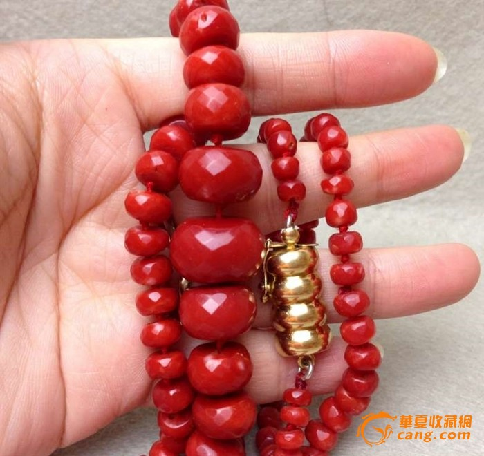 75克重18K金扣-百年珠宝刻面天然阿卡AKA牛血红珊瑚项链