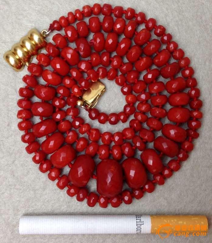 75克重18K金扣-百年珠宝刻面天然阿卡AKA牛血红珊瑚项链图3