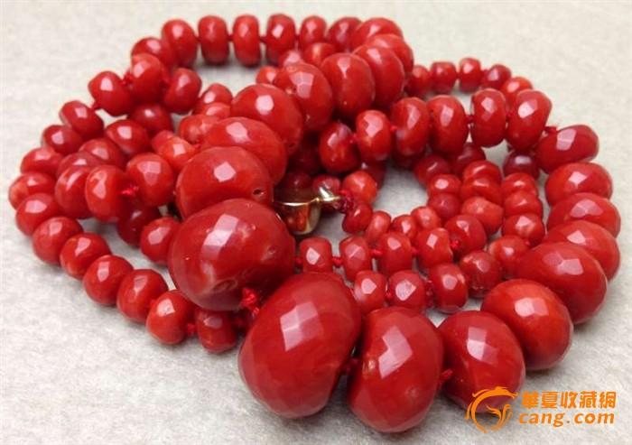 75克重18K金扣-百年珠宝刻面天然阿卡AKA牛血红珊瑚项链图6
